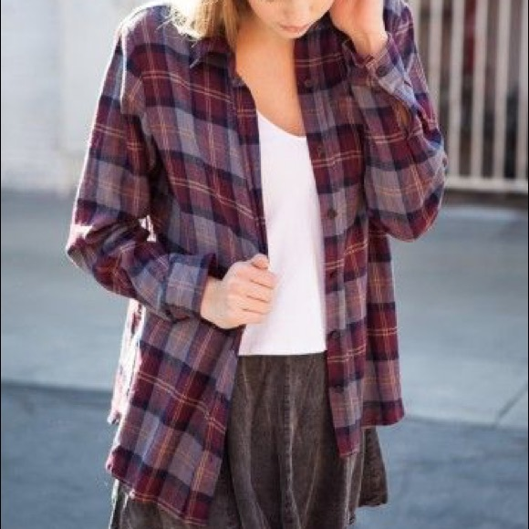 Brandy Melville Tops - Wylie Burgundy and Purple Flannel
